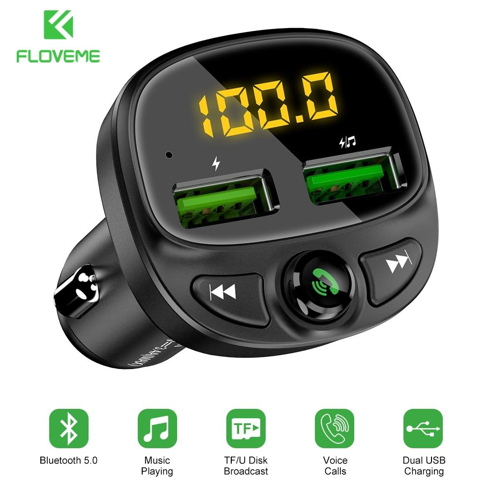 FLOVEME-cargador de teléfono móvil para coche, dispositivo con pantalla LED, Bluetooth, transmisor...