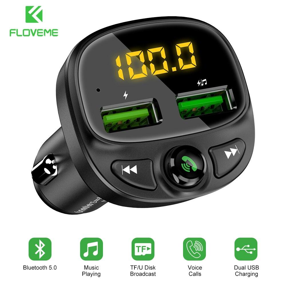 FLOVEME cargador de coche transmisor FM Bluetooth coche reproductor de MP3 TF Tarjeta de música coche Kit 3.4A de carga rápida cargador de telefono de coche USB Dual