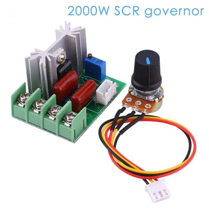 Ac 220v 2000w regulador de tensão escurecimento dimmers controlador de velocidade do motor regulador módulo com potenciômetro