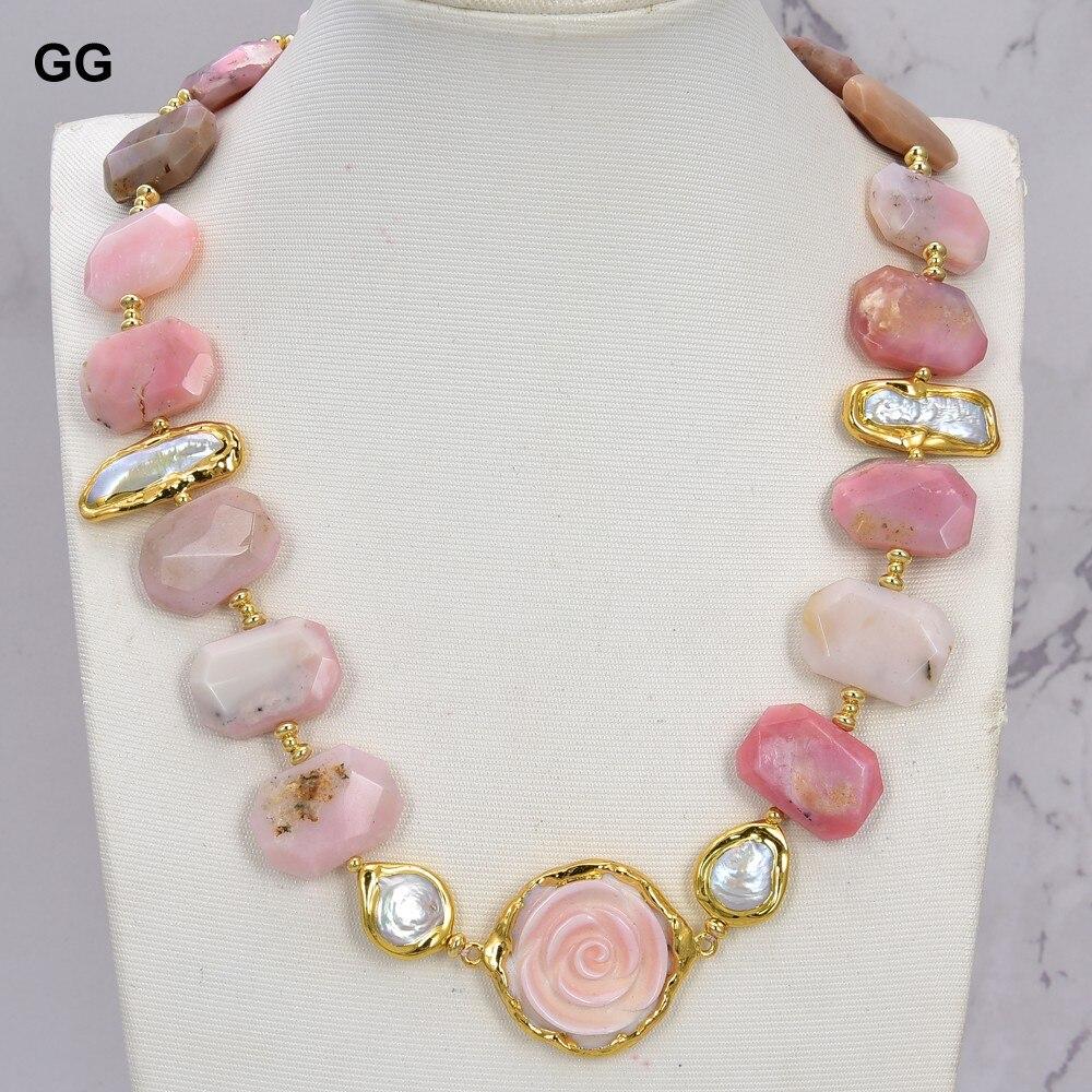 GuaiGuai مجوهرات الطبيعية الوردي العقيق الأبيض بيوا اللؤلؤ الوردي الملكة محارة قلادة الزهرة 21