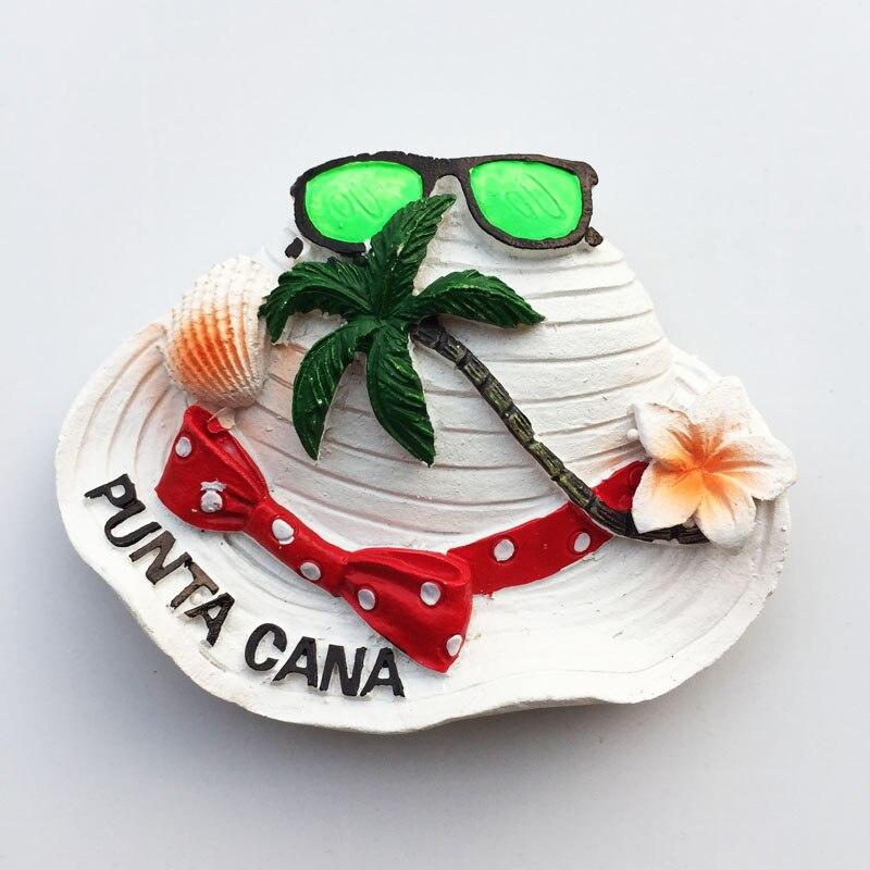 white hat cap fridge magnet travel souvenir beach holiday coconut trees sunglass decoration magnetic stikcer whiteboard paste
