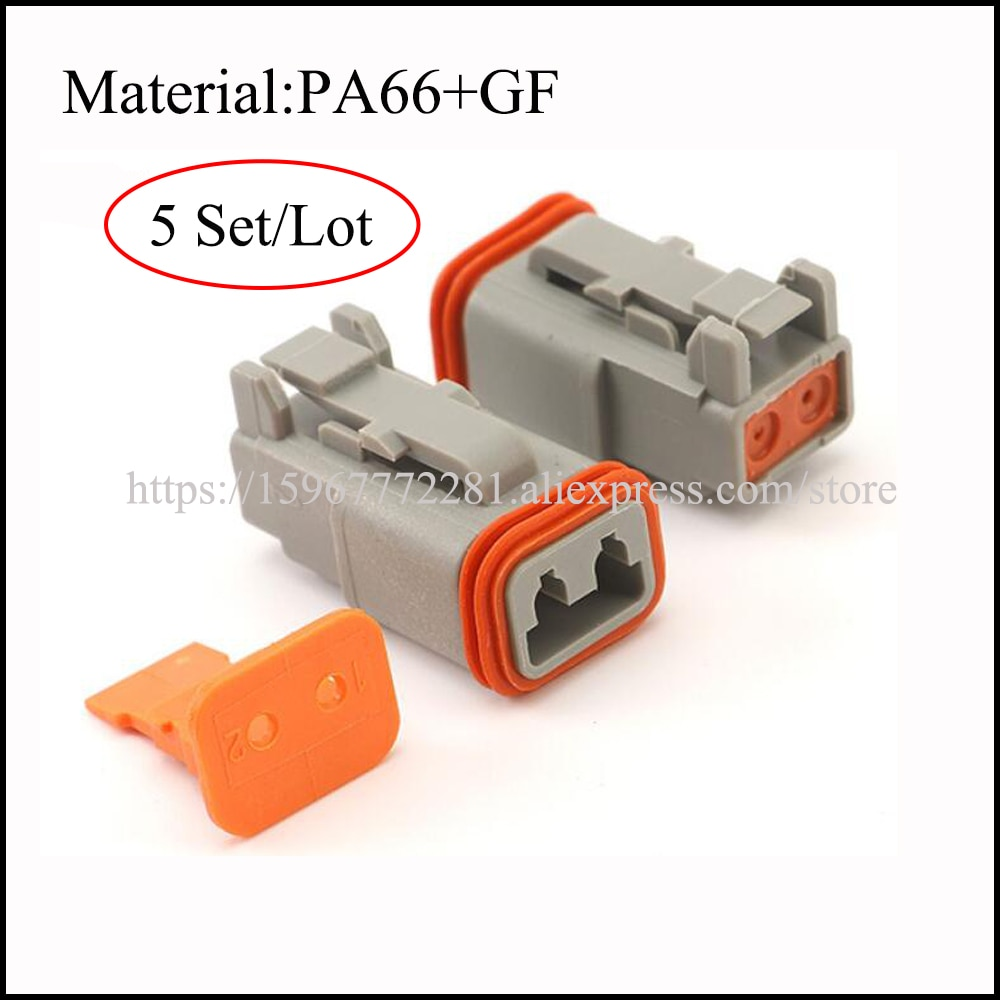 DT06-2S W-2S 1,5mm PA66 + GF auto terminal conector hembra conector de cable de coche 2 pin conector macho y hembra automoción eléctrica