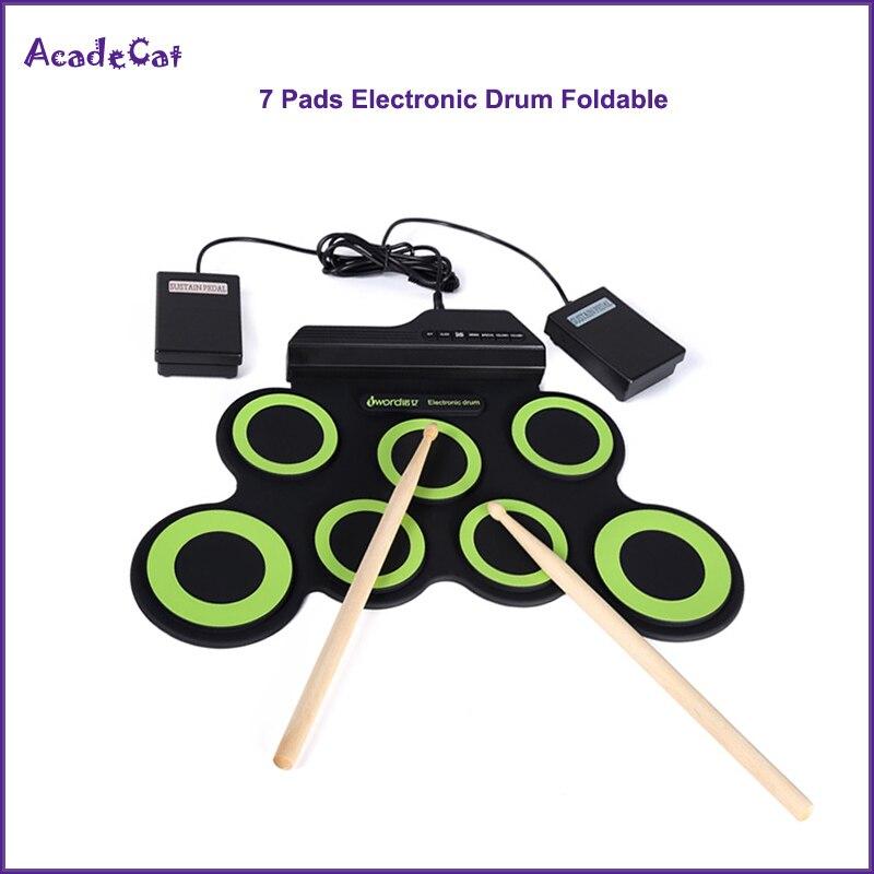 Enrolla 7 almohadillas Digital electrónico tambor de silicona portátil plegable tambor con palos y Pedal de apoyo
