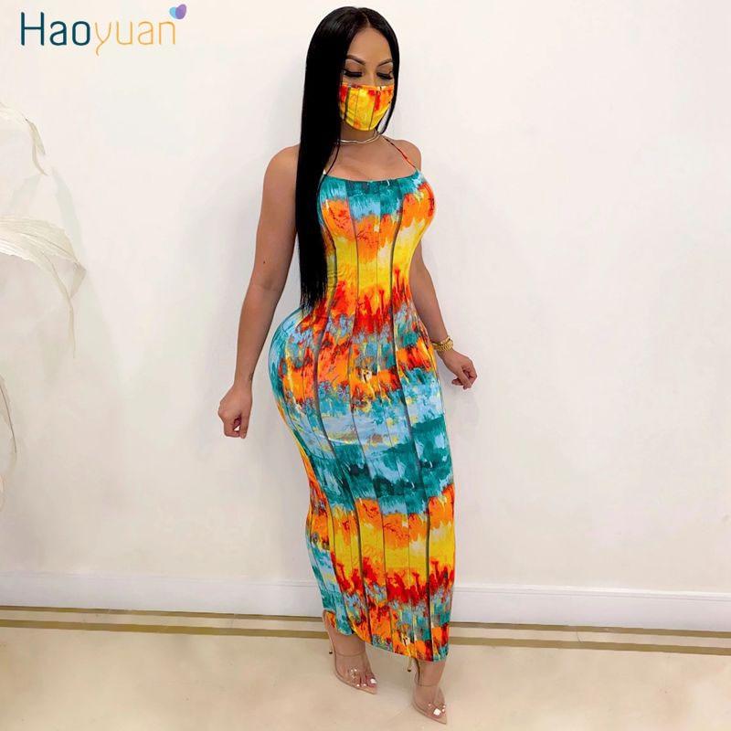 HAOYUAN Sexy Tie Dye ceñido vestido largo Maxi vestido con máscara mujeres ropa de verano elegante Backless vendaje Club nocturno Fiesta Vestidos