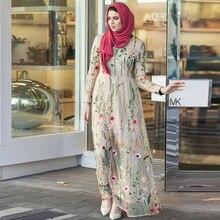 Siskakia Calssy 메쉬 꽃 자수 긴 드레스 O 목 풀 슬리브 맥시 라인 드레스 이슬람 이슬람 라마단 Eid 의상 2020