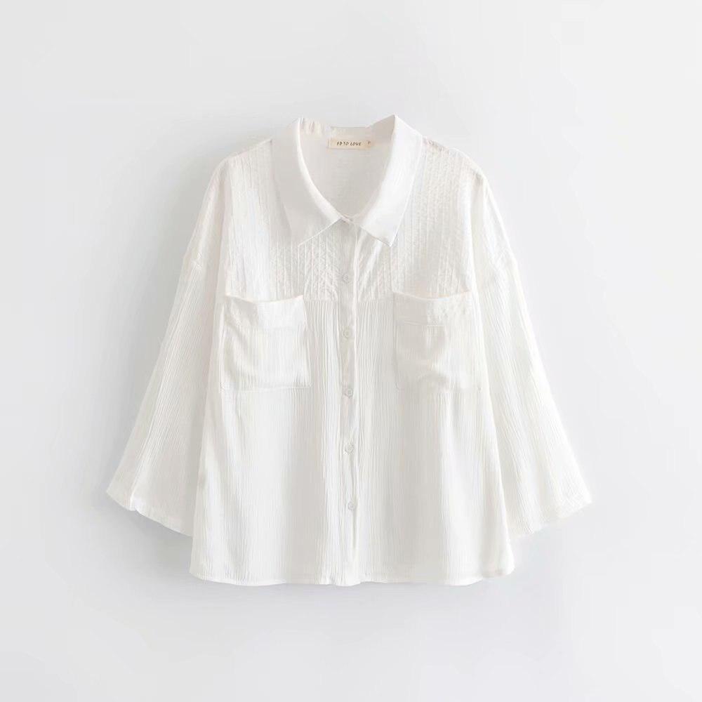 Primavera mujer blanca suave Fp blusa 2019 mujeres-s verano moda plisada manga larga bolsillo transparente Camisas blusas mujer de moda