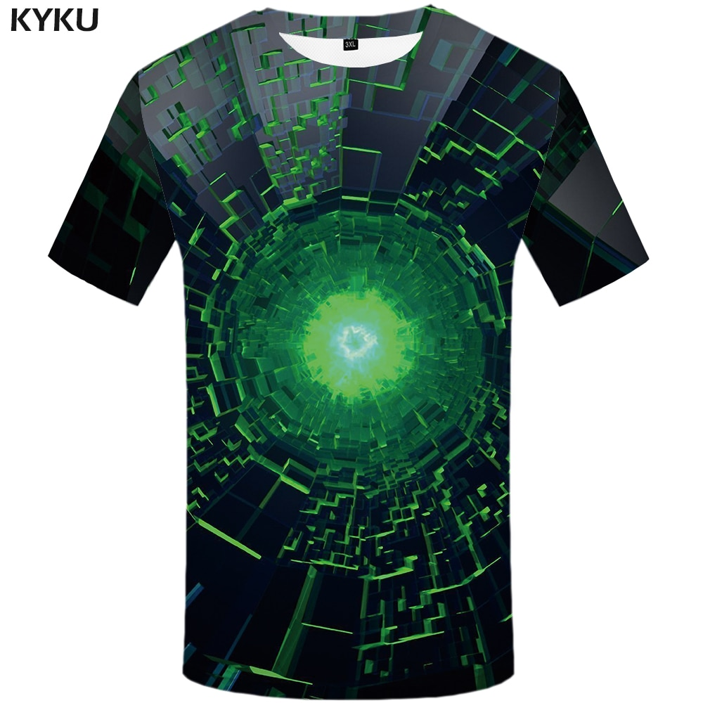 KYKU marca psicodélica Camiseta Hombre vórtice camisetas divertidas agujero negro camisetas 3d espacio camisa imprimir Anime ropa para Hombre Ropa