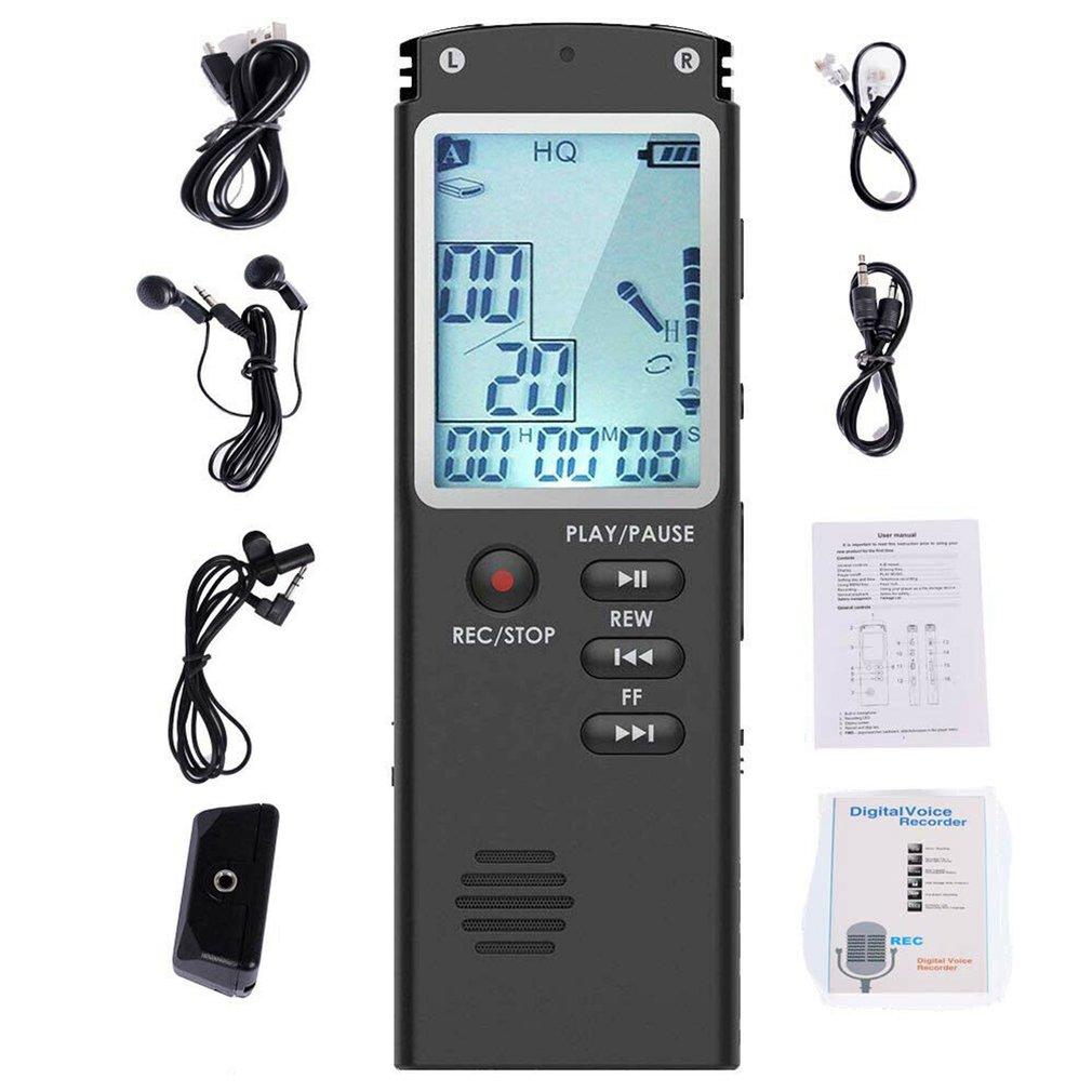 8GB/16GB/32GB grabadora de voz USB profesional 96 horas dictáfono Grabadora de Voz de Audio Digital con WAV, reproductor MP3 T60 1536 Kbps