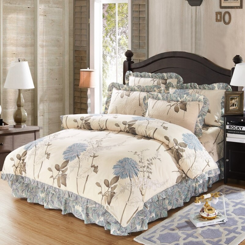 Impreso juego de funda nórdica Floral reina/4/6 Uds suave algodón acolchado de ropa de cama de edredón colcha fundas de almohada