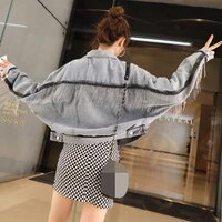 spring 2021 new korean su denim jacket with loose fitting bat sleeved denim jacket coats and jackets women streetwear