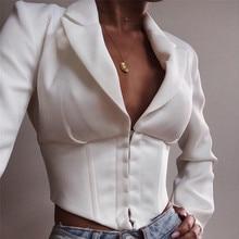 2021 spring and Autumn New Women's long sleeve Lapel single breasted slim fit short diamond hem T-sh