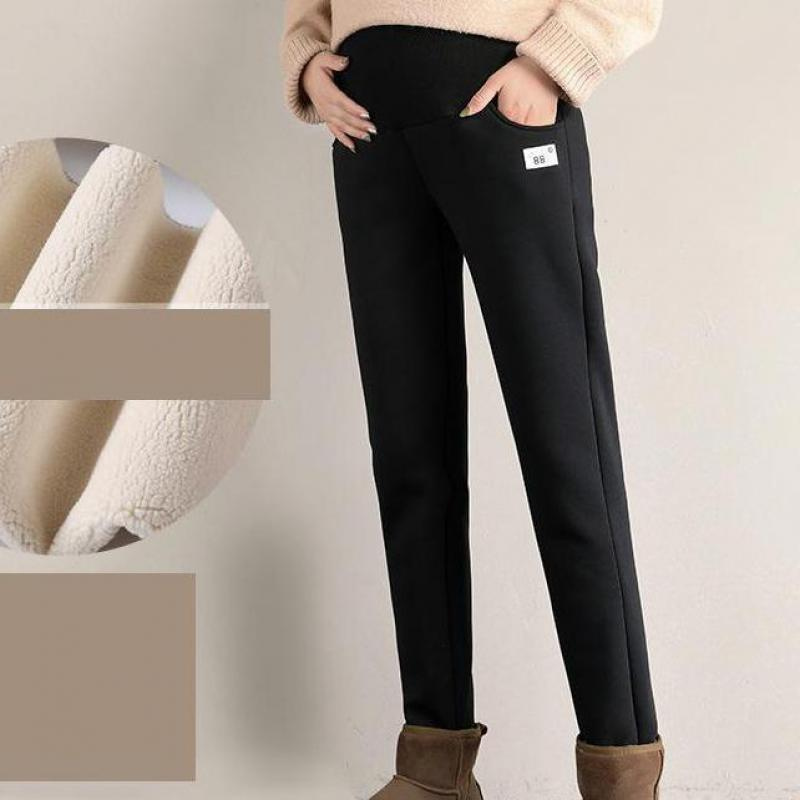 Pregnant Women's Plush Pants Autumn And Winter Plush Casual Pregnant Women's Warm Pants Lambs Wool Warm Pants For Pregnant Women enlarge