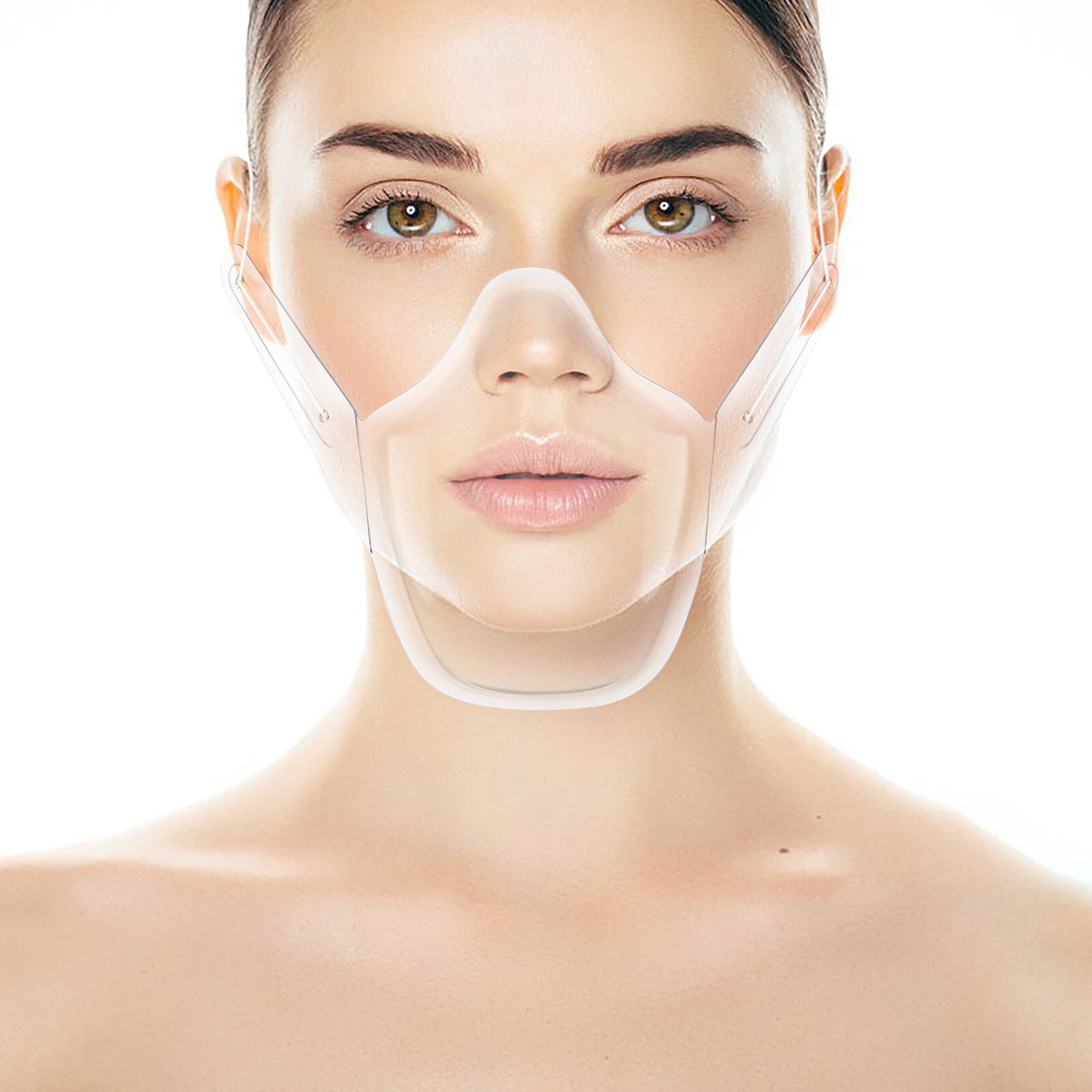 Transparent visible lip language reusable face shield PET mask Prevent oil splash Durable mouth Mask cover Shield Mascarilla 5PC