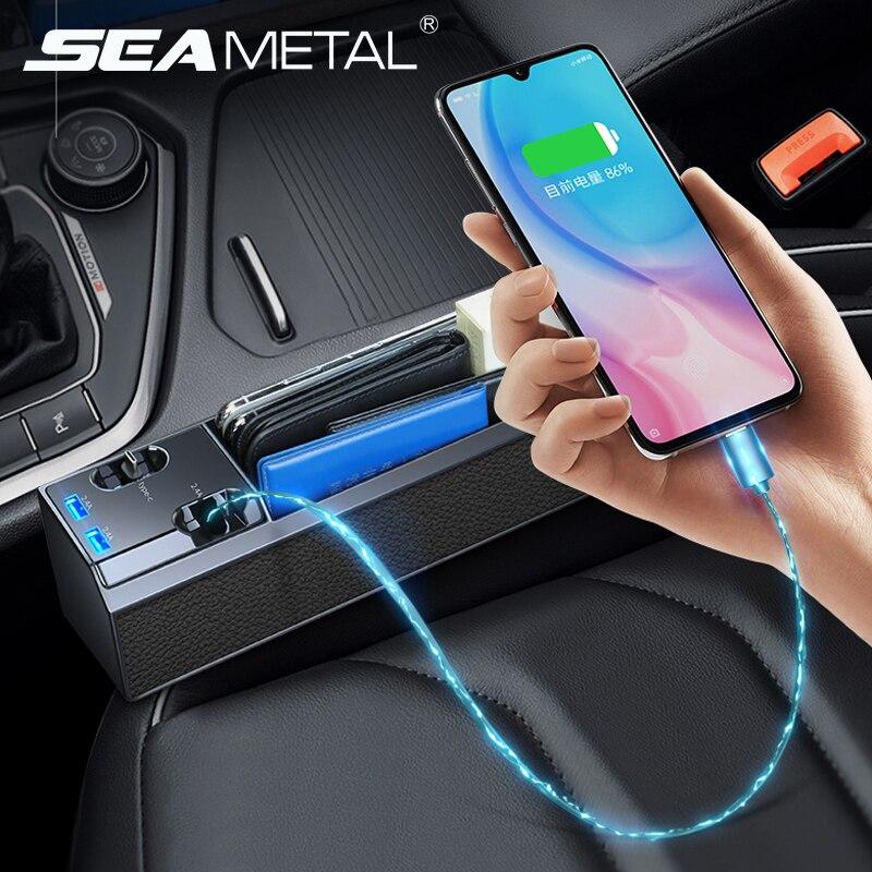 Caja de almacenamiento para hueco de asiento de coche con puerto USB Cable de carga de teléfono IOS tipo C Android Interior asientos de coche Crevice organizador soporte de teléfono