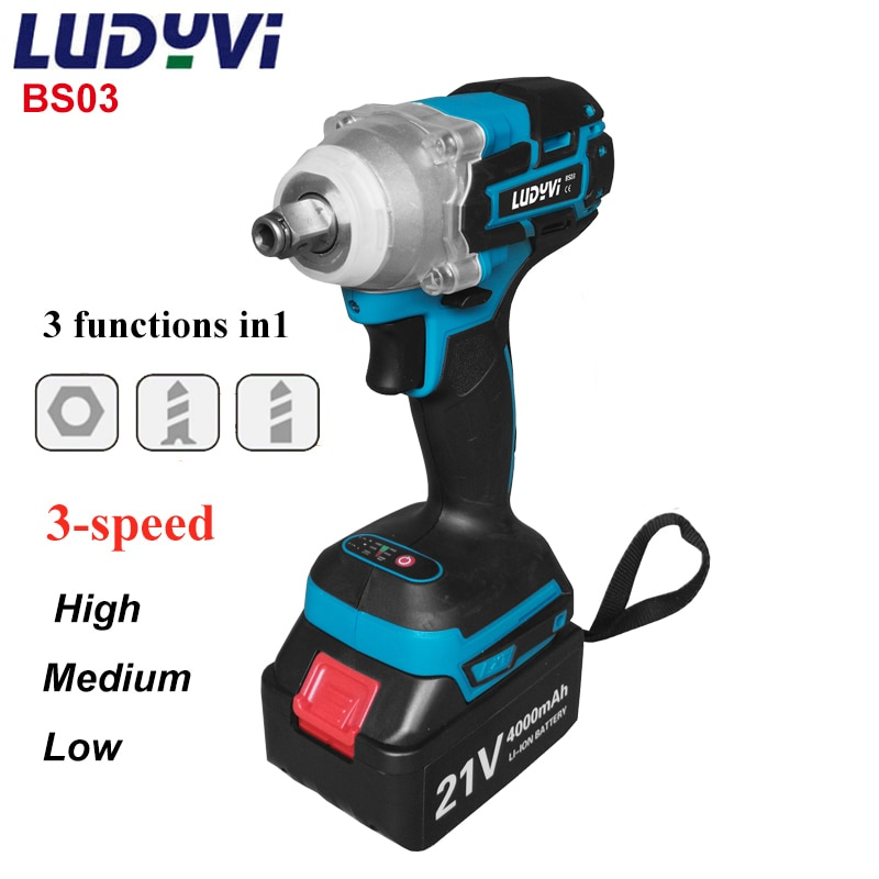 21V Cordless Impact Wrench 4000mah Lithium Battery Rechargeable Electric Wrench 520N.m Brushless Wrench