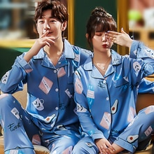 2020 Men Pajamas Set Autumn Sleep Clothing Cotton Male Simple Nightwea Casual Lounge Long Sleeved Sl