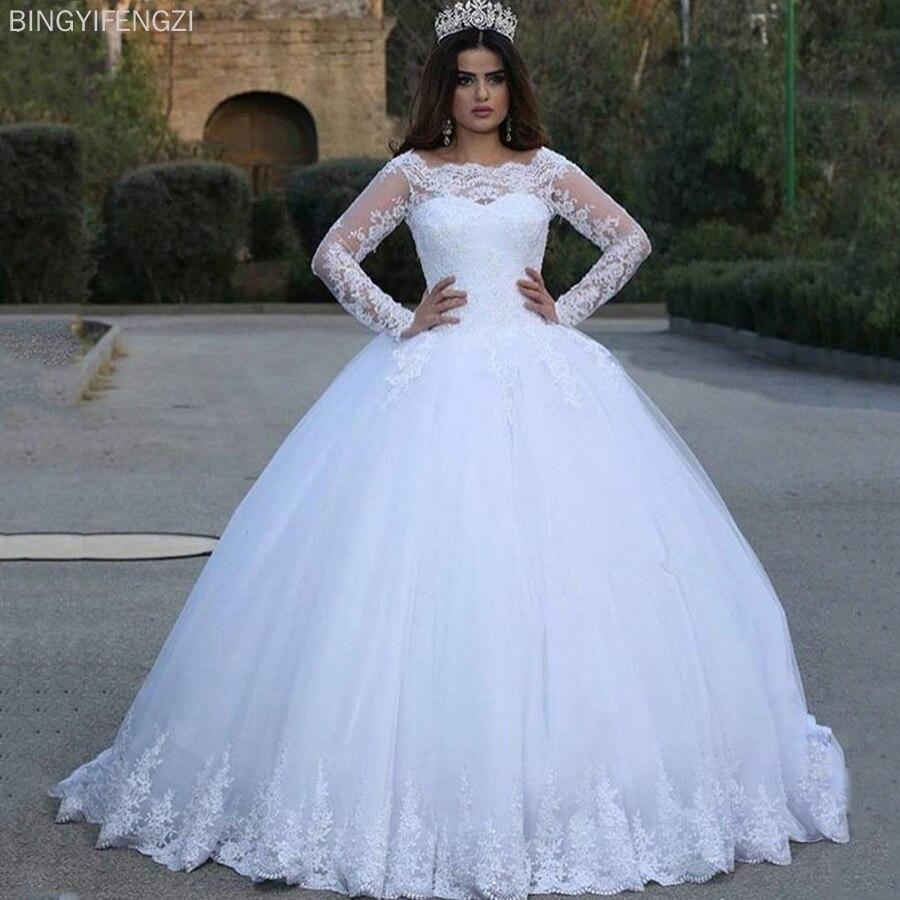 Get 2021 NEW White Vintage Lace Appliques Long Sleeves Cheap Wedding Dresses Ball Gown Wedding Gowns Bridal Dress robe de soiree De