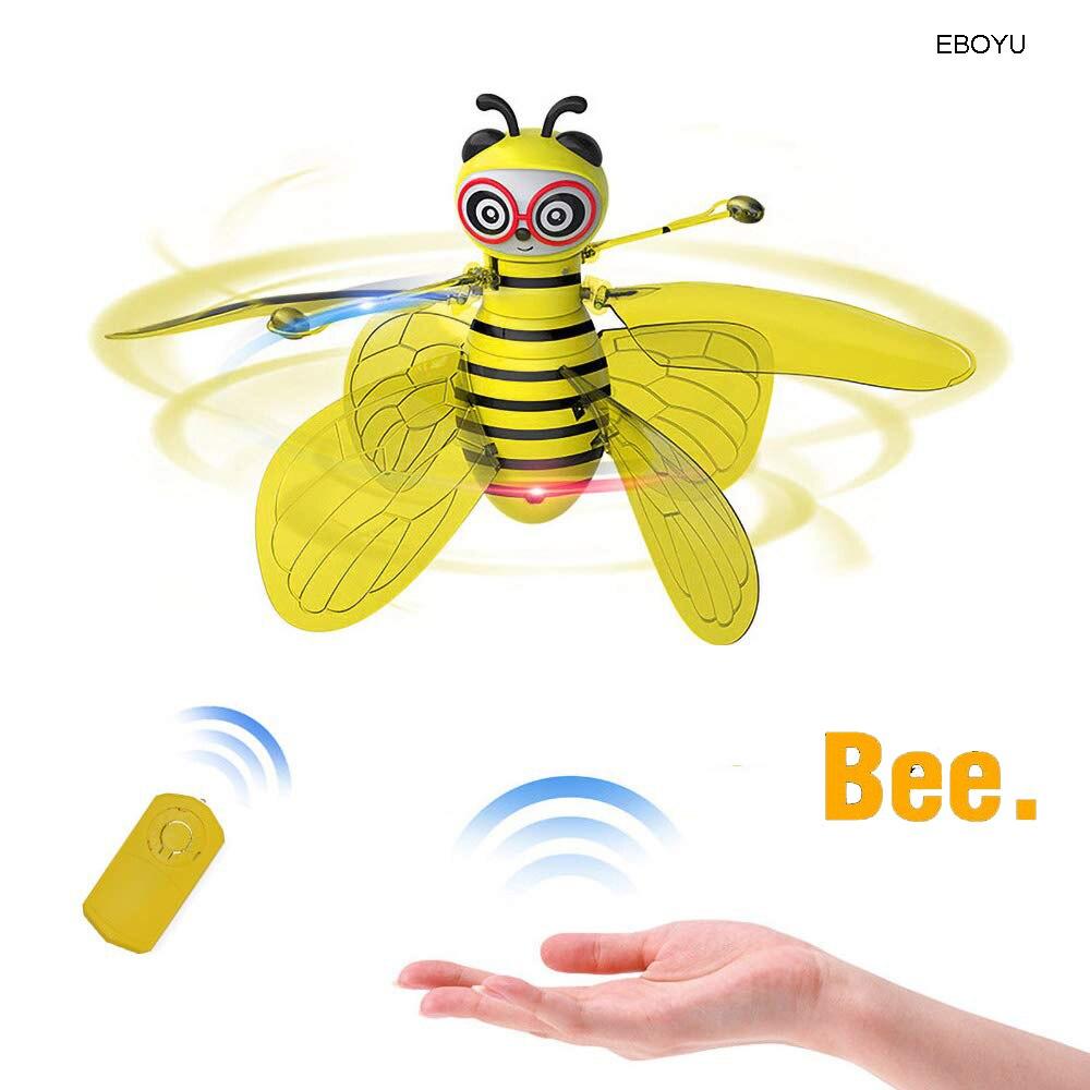 Juguetes de abeja de bola voladora EBOYU RC Drone de inducción infrarroja helicóptero con luz LED brillante controlado a mano juguete para regalo para niños