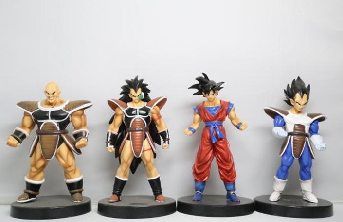 4 pçs/lote Troncos de Dragon Ball Z Son Goku Gohan Vegeta Yamcha Hercule Chiaotzu Tien Shinhan Raditz Nappa Figura Toy Modelo bonecas