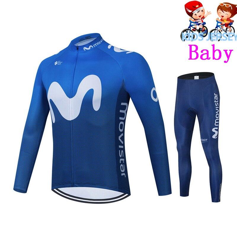 Movistar-ropa de Ciclismo transpirable para niños, Conjunto de Jersey de manga larga,...