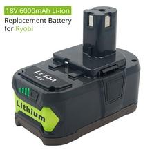 18В 6000 мАч литий-ионная аккумуляторная батарея для Ryobi ONE беспроводные электроинструменты BPL1820 P108 P109 P106 P105 P104 P103 RB18L50 RB18L40