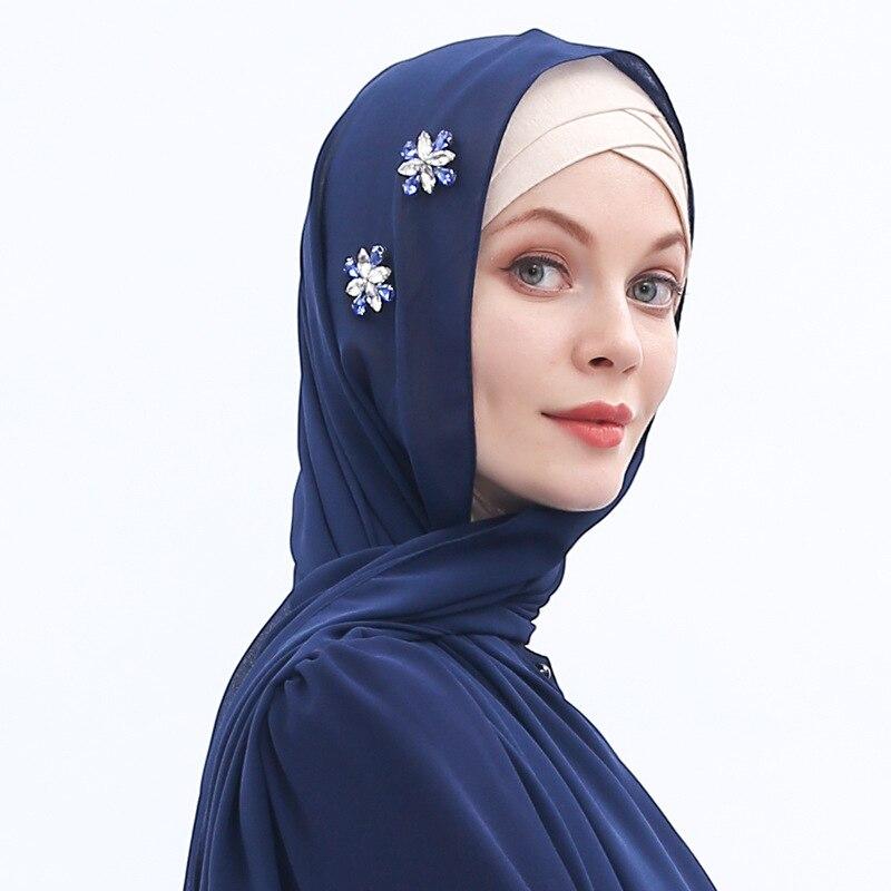 2021 Осень Новый женский мусульманский марлевый исламский шифоновый шарф дышащий стразы головной платок хуй этнический хиджаб