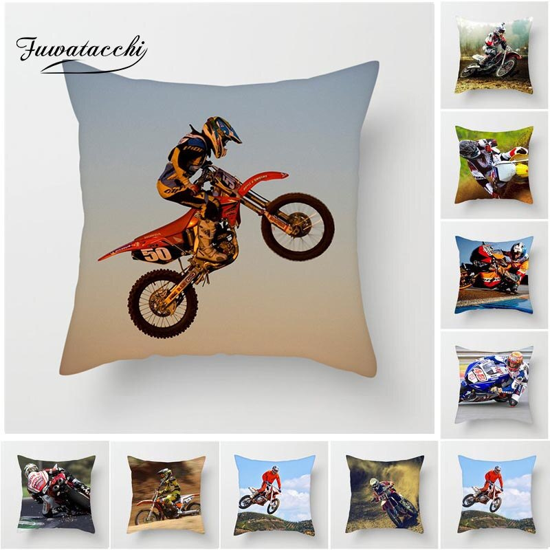 Fuwatacchi Motorcycle Sports Throw Pillow Cover Extreme Speed Cushion Cover for Home Chair Decoration Square Soft Pillowcases