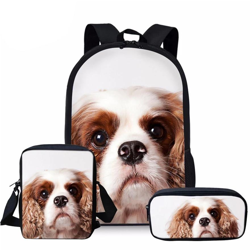 Детская сумка для школы, школьные ранцы с 3D рисунком собачки Карла спаниеля, 3 шт./компл., портфель для начальной книжки