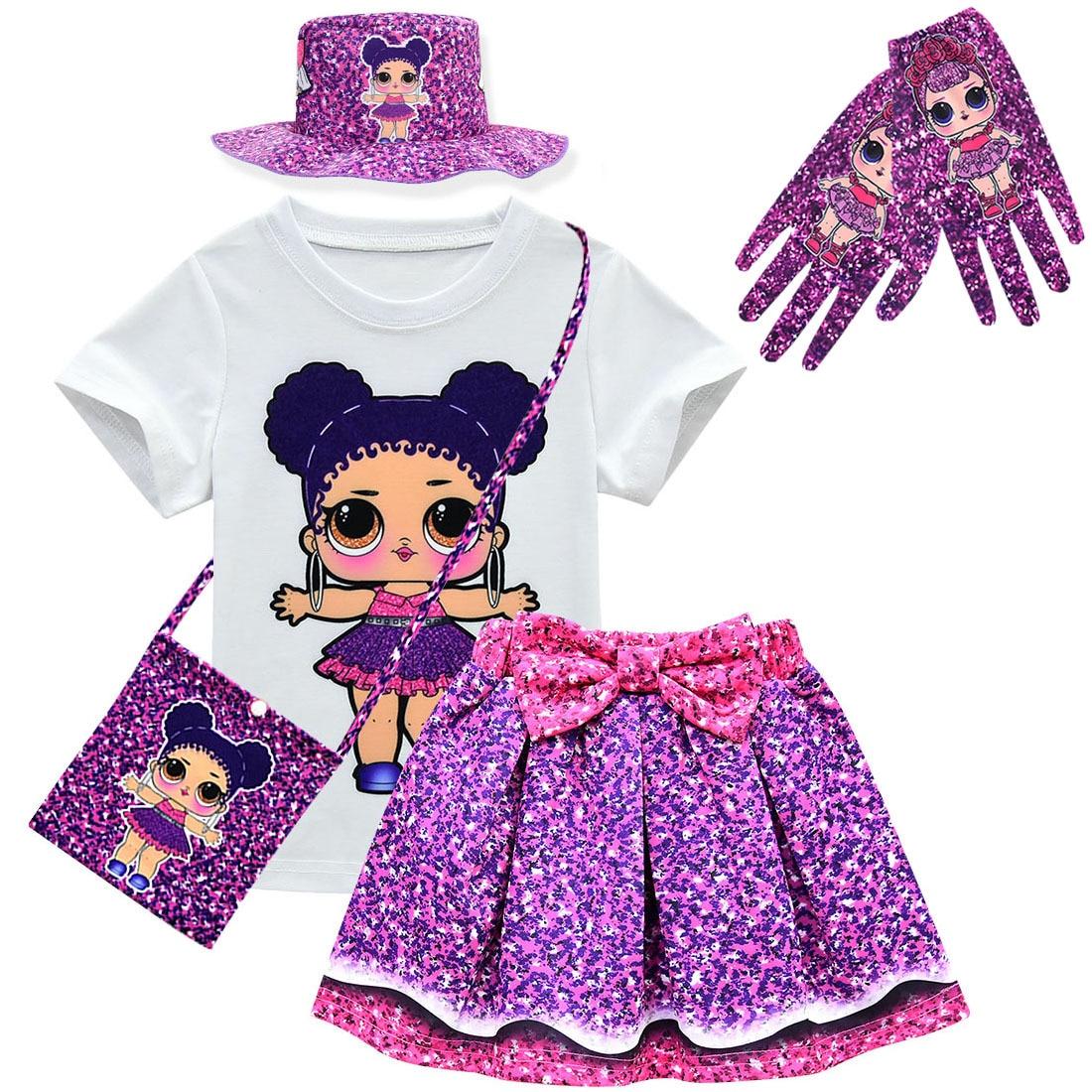 Lol doll sorpresa modelo original juguetes chica camiseta + falda conjunto Lol vestidos para niña chico muñeca dibujos animados princesa niñas vestido