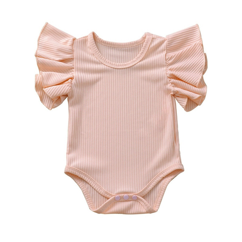Newborn Toddler Baby Girls clothes Cotton solid Ruffle sleeveless Jumpsuit round neck kids lovely ca