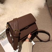 Vintage Brown Shoulder Bag Women Retro Handbag Luxury Designer Brand Ladies Purse Solid Color Stylis