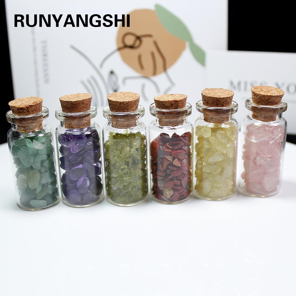 Runyang Shi 17 tipos de piedra de cristal de cuarzo Natural grava de cristal botella de deseos piedras preciosas de cuarzo Natural Chip Mineral