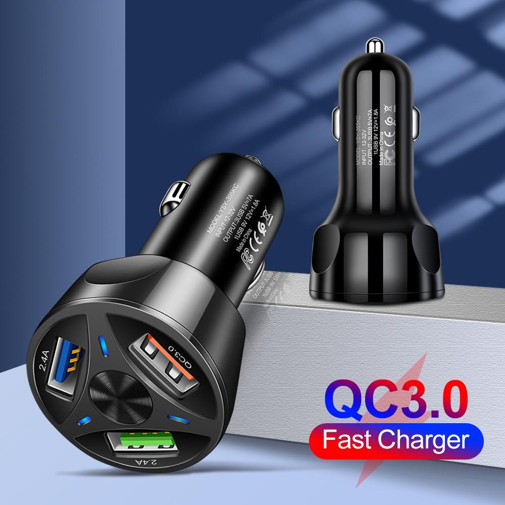 Cargador rápido QC3.0 para coche, Mini Adaptador de 3 puertos USB para...