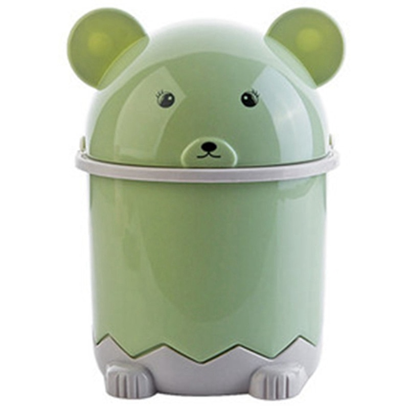 Creative Cute Desktop Trash Desktop With Lid Small Paper Basket Mini Flip Plastic Trash Can Green