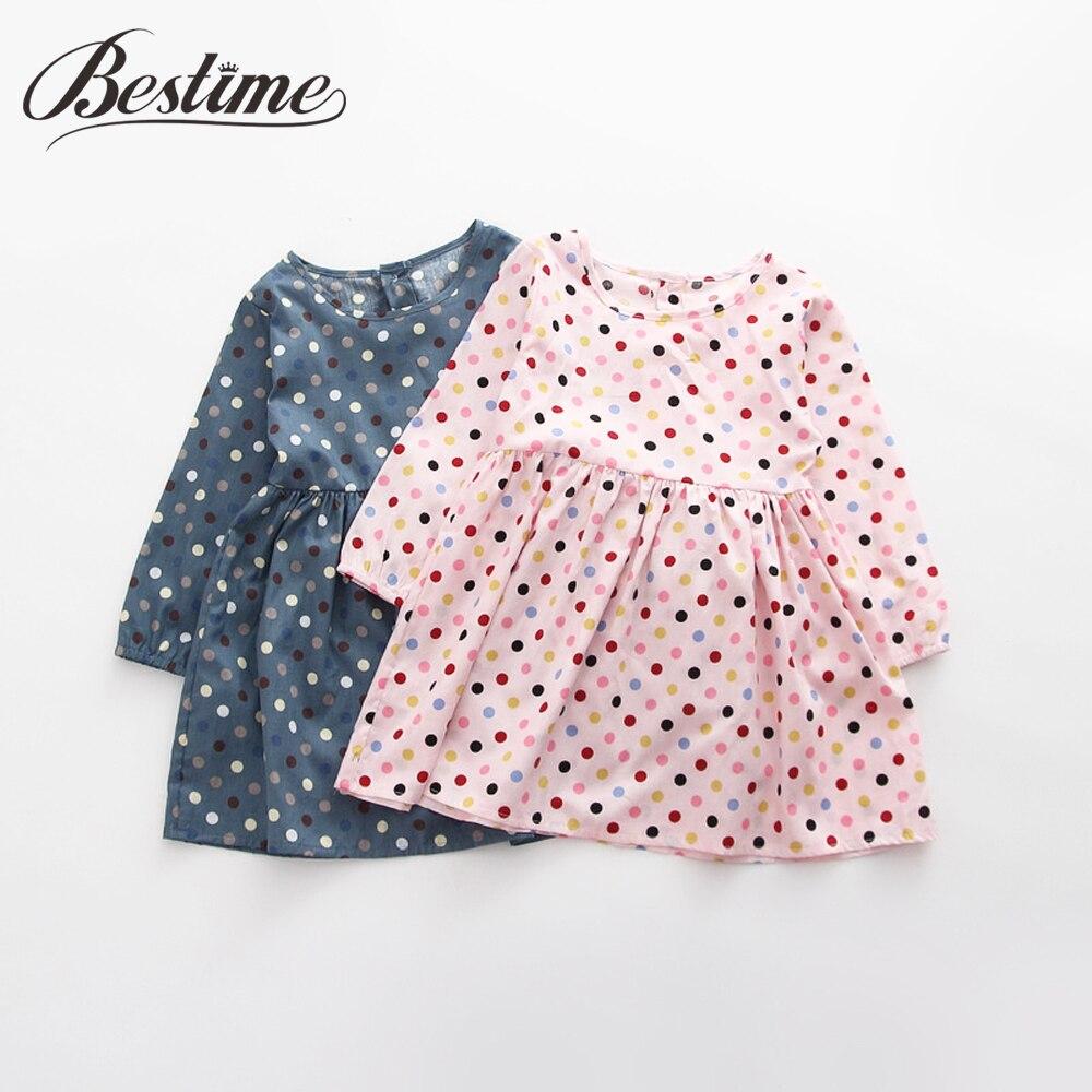 Cotton Girl Dress Long Sleeve Children Dress Polka Dot Kids Dresses for Girls Fashion Girls Clothing
