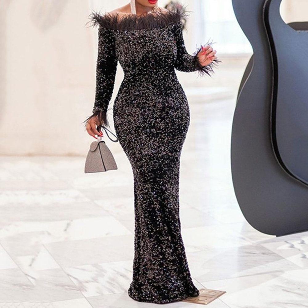 Outono longo vestidos de festa das mulheres sexy sequinis slash pescoço pena elegante feminino jantar vestido robe africano maxi vestido