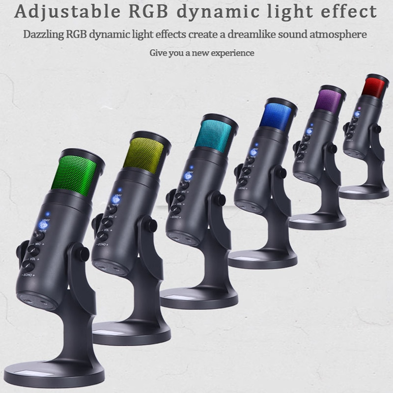 RGB Condenser Microphone for iPhone Android laptop Computers Professional USB Mic with Earphone jack for Gaming Streaming Video enlarge