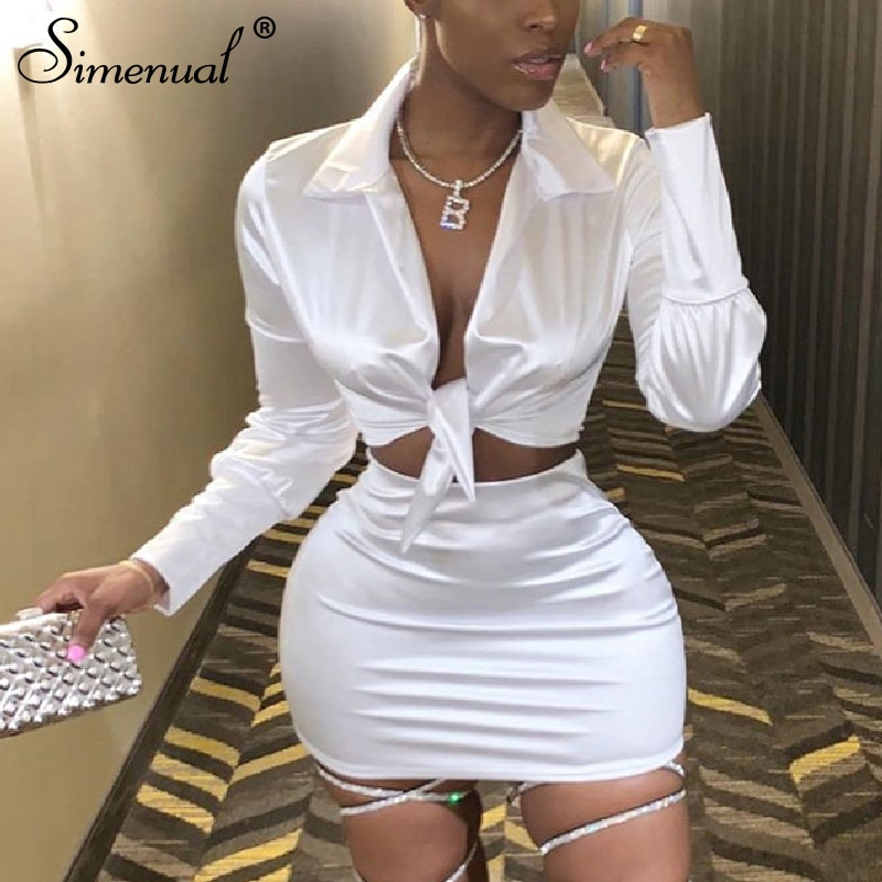 Simenual Sexy Fashion Satin Matching Sets Women V Neck Party Hot Silk 2 Piece Outfits Long Sleeve Bandage Crop Top And Skirt Set simenual knitted ribbed bandage patchwork two piece sets women long sleeve v neck club tie front outfits crop top and pants set
