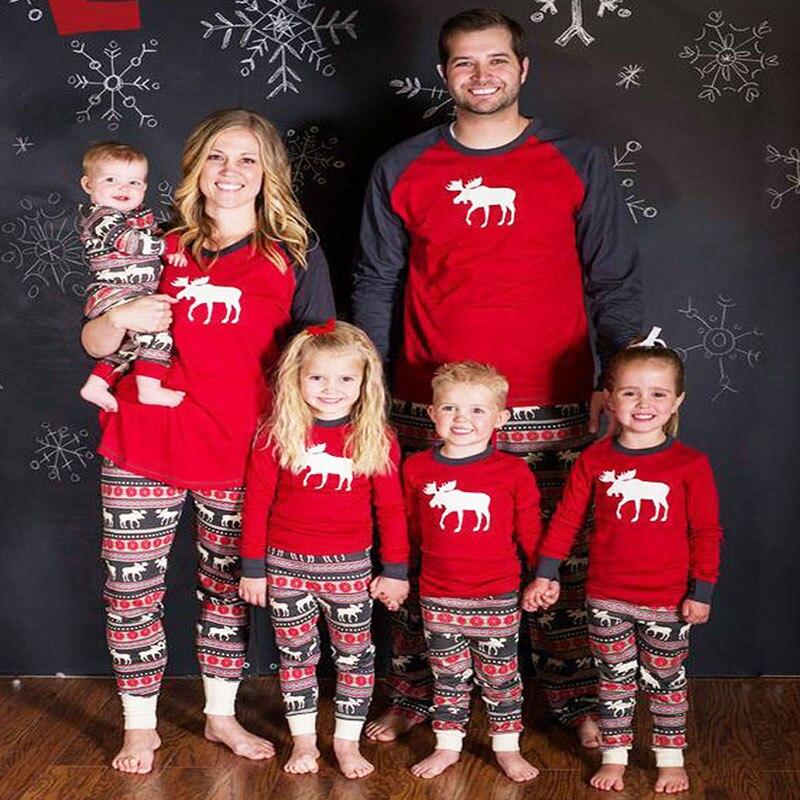 Familia juego ropa de Navidad conjuntos de pijamas de ciervo patrón mamá papá y bebé y niños Tops rojos + Pantalones 2 uds familia Navidad traje
