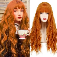 """24""""Long Orange Wig With Bangs Water Wavy Wig Synthetic Fiber Wig Women's Long Wig Cosplay/Daily/Party Wig"""