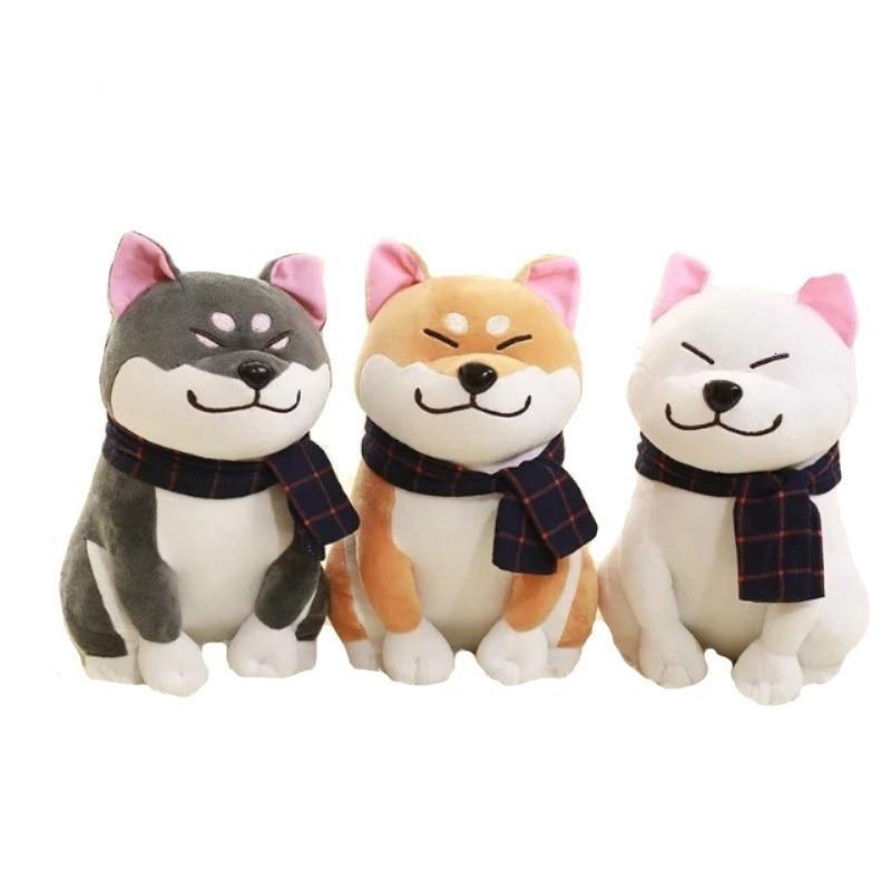 Kawaii Wear Scarf Shiba Inu Dog Plush Doll Toys Soft Stuffed Puppy Dog Plush Toy Christmas Birthday Gifts for Children