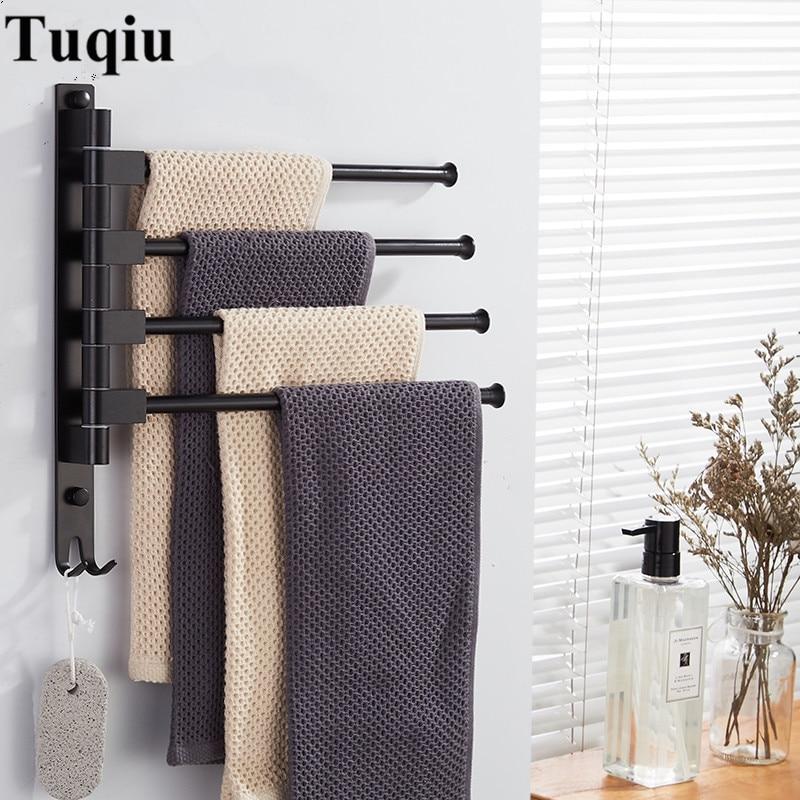 Vidric-قضيب منشفة دوار من الألومنيوم مثبت على الحائط 2-5 ، جديد ، مع خطافات ، حامل مناشف الحمام ، أسود