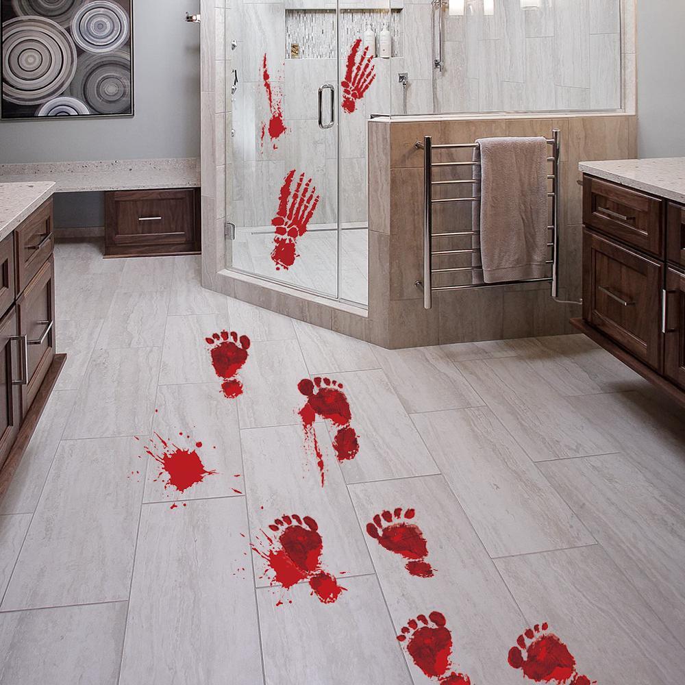 Horror de Halloween pegatinas de pared decoración para el hogar sangre atemorizante Palm suelo pegatinas de casa habitación decoración embellecimiento