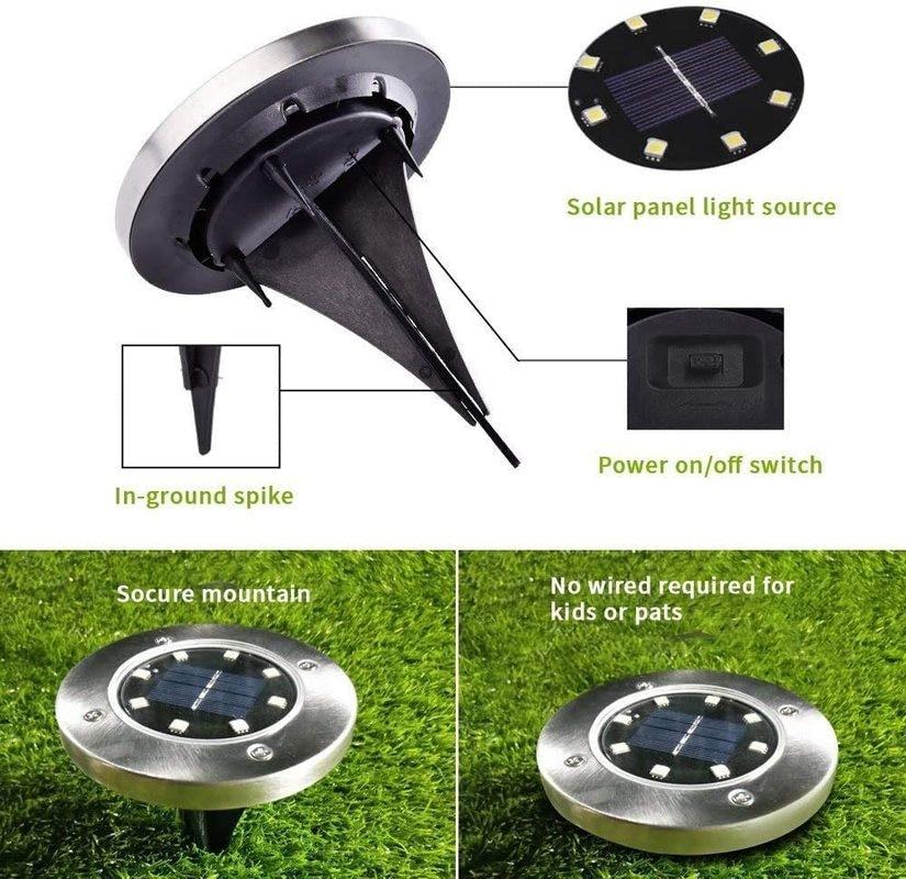 Luces solares de tierra para exteriores, 8/10/12/16/20led, luces de jardin al aire libre, luces de disco impermeables, enlarge
