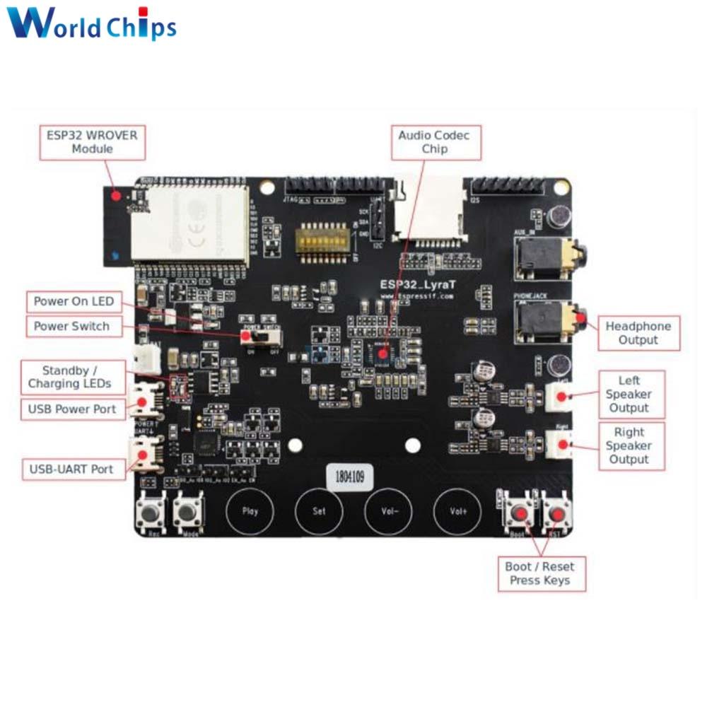 ESP32-LyraT V4.3 WiFi بلوتوث ستيريو الصوت مجلس التنمية مايكرو SD/6 أزرار/JTAG/USB-UART/AUX/MIC/للمنزل الذكي سحابة