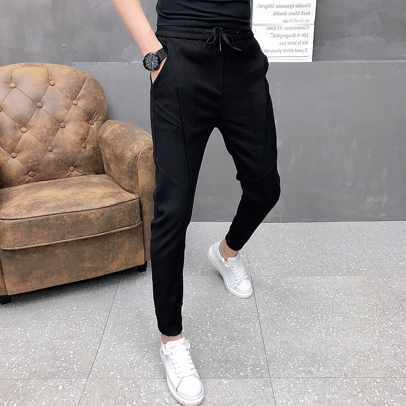 Fashion Korean Solid Joggers Men High Quality Autumn Winter Thick Pants Men Slim Fit Drawstring Mens Casual Pants Black/Gray 36