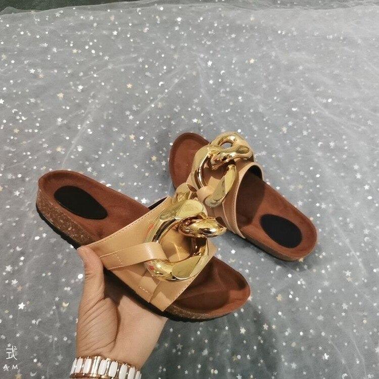 LLOGAI 2021 Women Slipper Fashion Big Gold Chain Sandals Shoes Woman Round Toe Slip on Mules Flat Heel Casual Slides Flip Flops