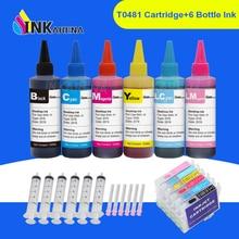 INKARENA 6 couleurs T0481 cartouches dencre dimprimante + Kits de recharge dencre 600ml pour Epson stylet Photo R200 R220 R300 R300M R320 R340 RX50