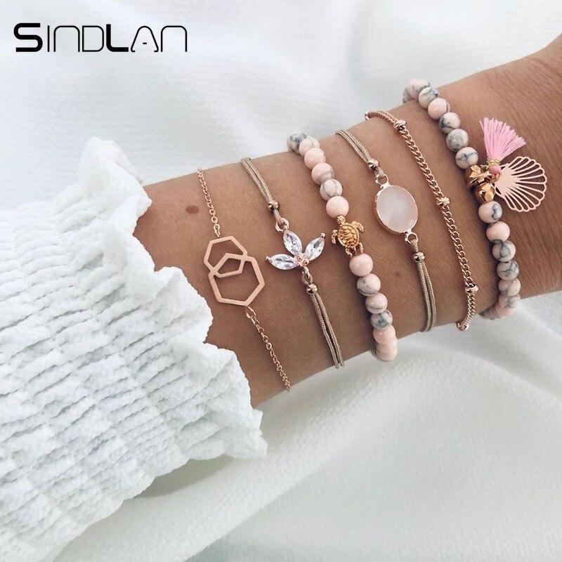 Sindlan 6 uds., pulseras de cristal de piedra Natural rosa para mujer, brazaletes de oro con diamantes de imitación, Tortuga, armazón hueco, juego de joyas para la muñeca
