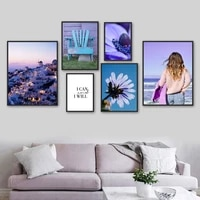 aegean building endive girl flower stamen wall art canvas painting nordic posters and prints wall pictures for living room decor